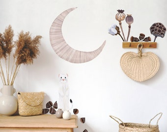 Whimsical Decal Pack | Moon Weasel Nuts + Mixed Flora | Reusable FABRIC Wall Decals Eco Friendly | Peel & Stick | Watercolor Nursery Decal