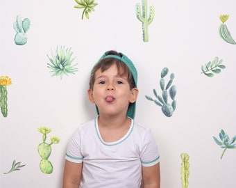 Watercolor Cactus Wall Decals | Reusable FABRIC Wall Decals Eco Friendly | Peel & Stick | Desert Flower Succulent Nursery Feature Wall Décor