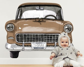Personalized Retro Car | Reusable FABRIC Wall Decal - Eco Friendly | Peel and Stick | Classic Style Large Watercolor Vehicle Nursery Decal