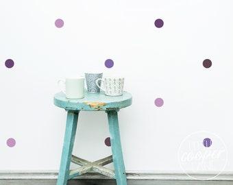 Polka Dots 5cm   VINYL Wall Decals   4 Colours   Eggplant, Violet, Lavender, Lilac   2 Inch Spots Circle Stickers   Nursery Kids Room Décor