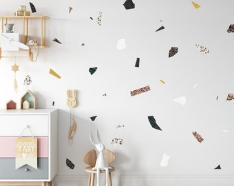 Terrazzo Wall Decals | Mixed Design | Reusable FABRIC Wall Decals Eco Friendly | Peel & Stick | Nursery Terrazzo Stone Colorful Polka Dots