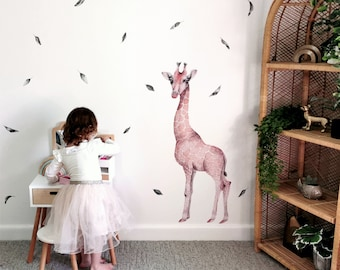 Watercolor Giraffe + Leaves   Reusable FABRIC Wall Decal - Eco Friendly   Peel and Stick   African Safari Animal Watercolour Nursery Decals