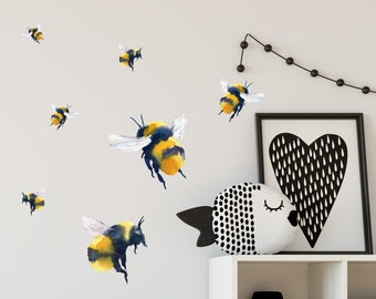 Bumble Bee Decal Pack | Watercolor Design | Reusable FABRIC Wall Decals Eco Friendly | Peel & Stick | Bee Wall Stickers Décor Nursery Design
