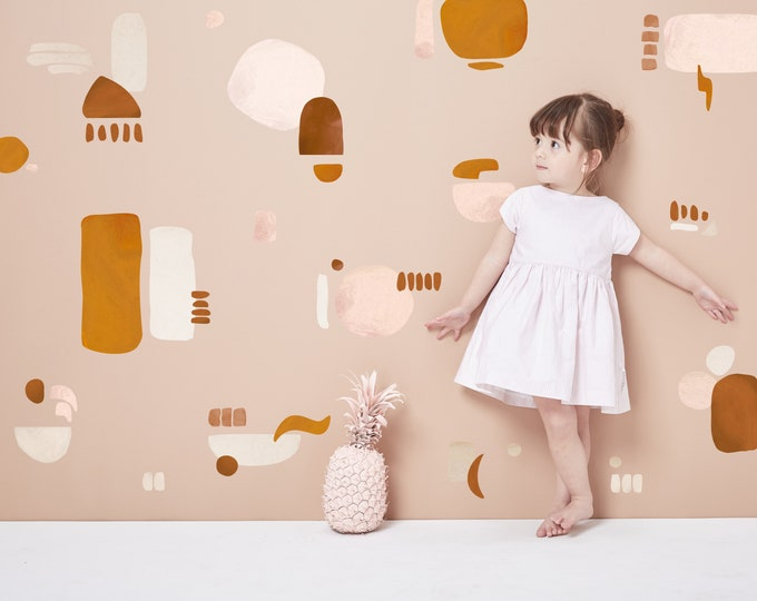 Featured listing image: Neutral Abstract Mural Decals | Mixed Design | Reusable FABRIC Wall Decals Eco Friendly | Peel & Stick | Nursery Painted Shapes + Dots