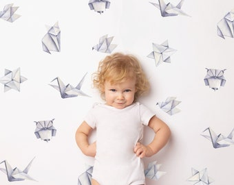 Watercolor Origami Wall Decals | Reusable FABRIC Wall Decals Eco Friendly | Peel & Stick | Crane Owl Fox Flower Bird Nursery Feature Wall