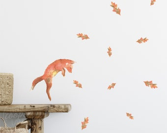 Playful Fox Cub & Autumn Oak Leaves | Reusable FABRIC Wall Decals - Eco Friendly | Peel and Stick | A4 Sheet
