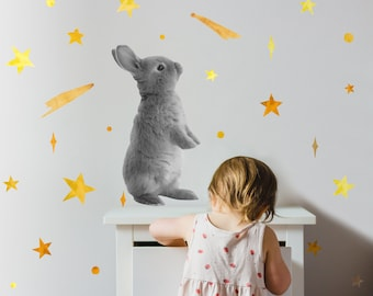 Bunny + Stars | Reusable FABRIC Wall Decal Set - Eco Friendly | Easter Bunny with Watercolor Hand Drawn Stars | Peel and Stick | A3 Sheet