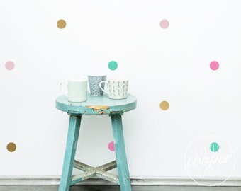 Polka Dots 5cm   VINYL Wall Decals   4 Colours   Gold, Light Pink, Mint, Candy Pink   2 Inch Spots Circle Stickers   Nursery Kids Room Décor