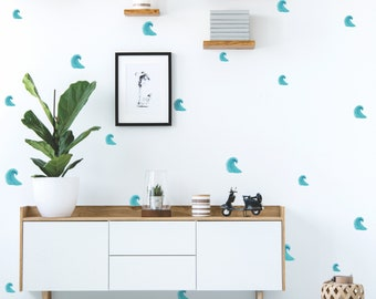 Watercolor Waves | Ocean Nautical Beach Theme | Reusable FABRIC Wall Decals Eco Friendly | Peel & Stick | Watercolor Spots Nursery Decal