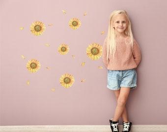 Watercolor Sunflower Decal Pack | Bonus Petals | Reusable FABRIC Wall Decals Eco Friendly | Peel & Stick | Floral Decal Décor Nursery Design