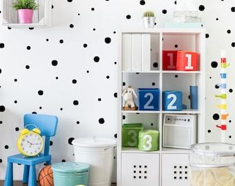 Hand Drawn Spots | VINYL Wall Decals | Multi Colour Options | Irregular Polka Dot Confetti Stickers | Baby Boys Girl Nursery Kids Room Décor