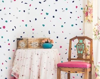 Terrazzo Multi Colour   VINYL Wall Decals   Hand Drawn Irregular Polka Dots Stickers   Children Boys Girls Nursery Kids Room Décor