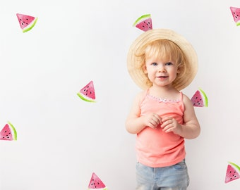 Watercolor Watermelon Wedges | Wall Decals | Reusable FABRIC Wall Decals Eco Friendly | Peel & Stick | Colorful Nursery Fruit Slice Design
