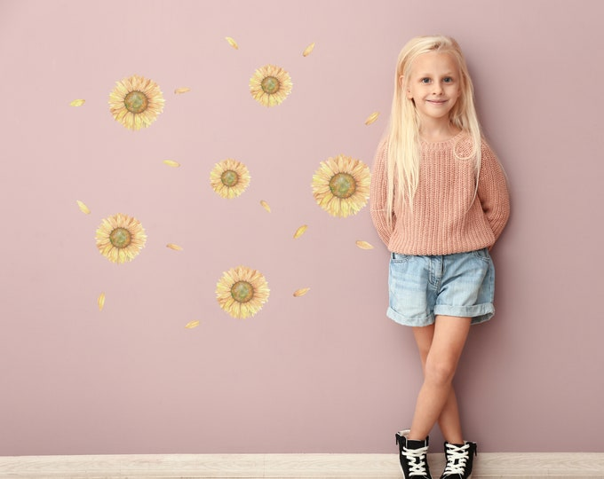 Featured listing image: Watercolor Sunflower Decal Pack | Bonus Petals | Reusable FABRIC Wall Decals Eco Friendly | Peel & Stick | Floral Decal Décor Nursery Design