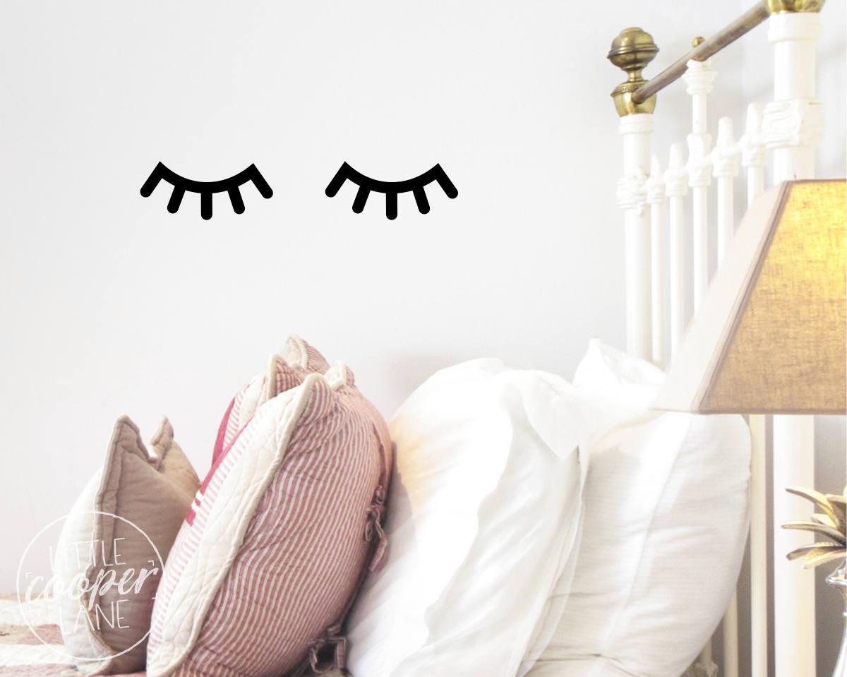 Sleepy Eyes Wall Decal Vinyl Sticker Closed Eyes Kids Decor