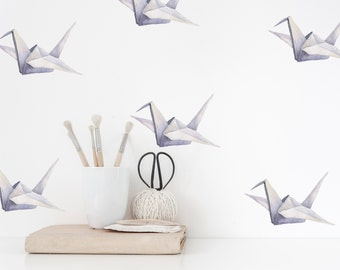 Watercolor Crane Origami Decals | Reusable FABRIC Wall Decals Eco Friendly | Peel & Stick | Hand Painted Heron Crane Nursery Feature Wall