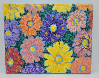 """White Orange Yellow Red and Pink Daisies Acrylic Impasto Painting on Blue Background 8"""" x 10"""" on Wrapped Canvas Ready to Hang"""