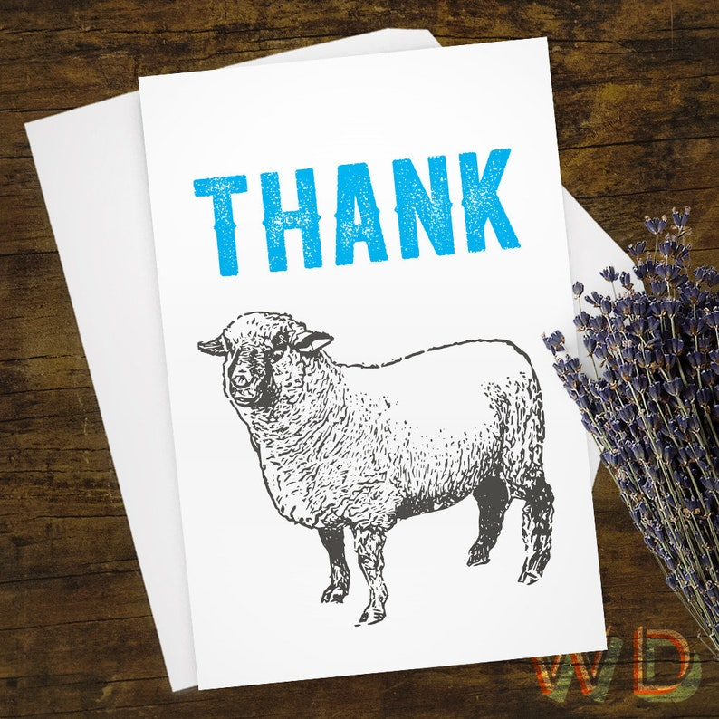 Greeting Card Thank You Card Thank Ewe Sheep Card Note image 0