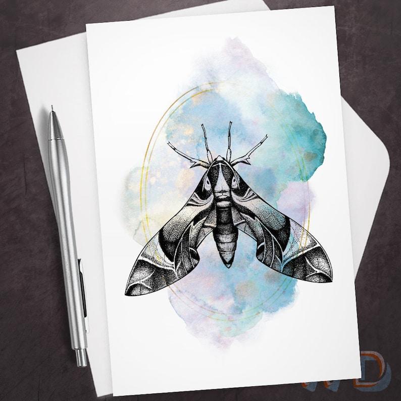 Anytime Greeting Card Sacred Moth Oleander Hawk Moth Sacred image 0