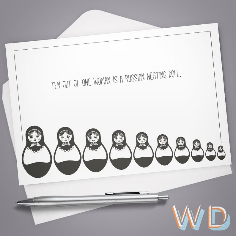 Greeting Card Nesting Doll Funny Card Card for Her Card image 0