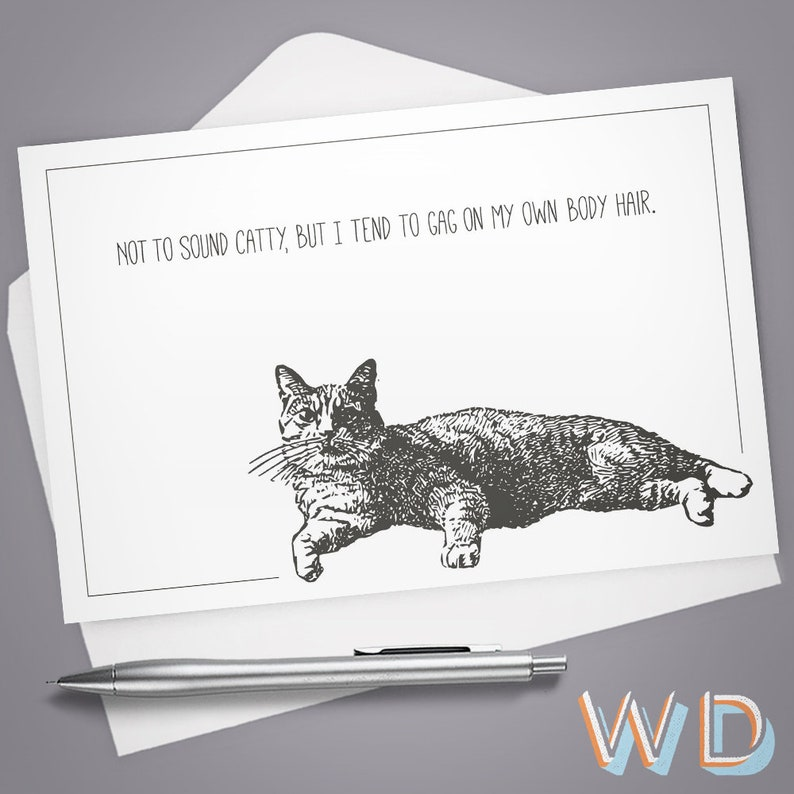 Greeting Card Not to Sound Catty Vintage Illustration image 0