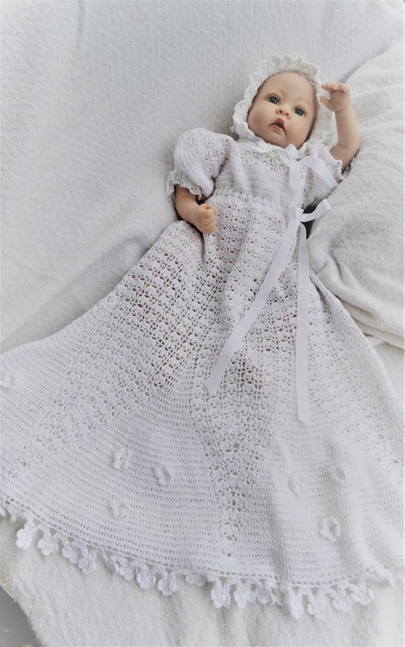 Baby crochet pdf pattern for flower petal christening outfit   Etsy