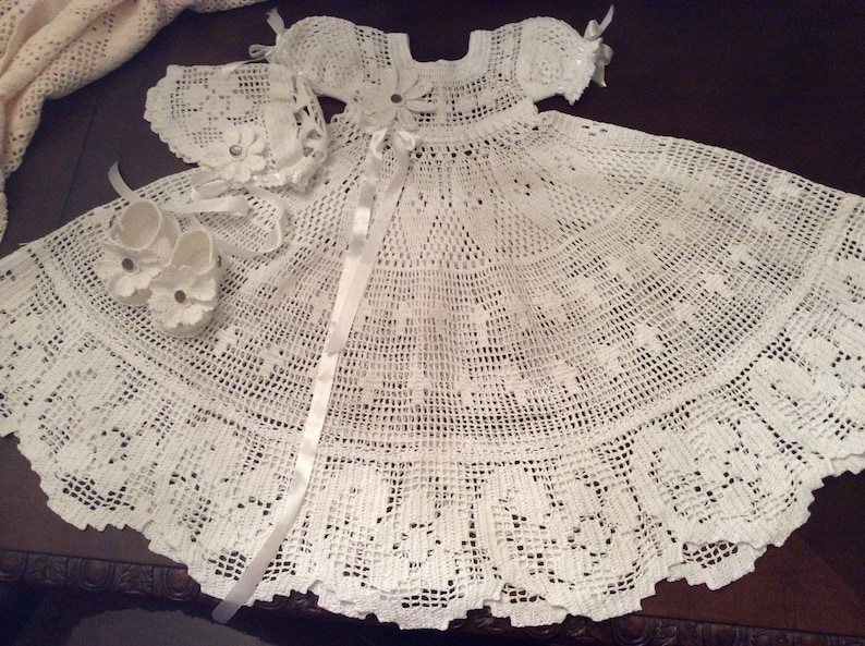 Fsc Filet Crochet Thread Baby Christening Gown Pattern Etsy