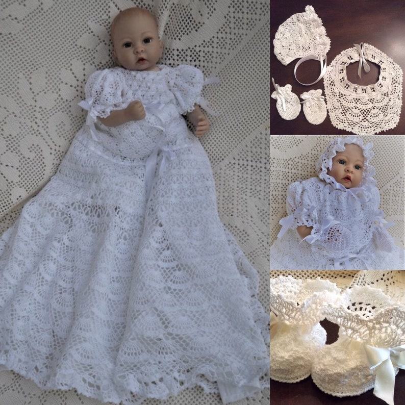 Baby Andrea Crochet Pattern Christening Gown Thread Crochet Etsy