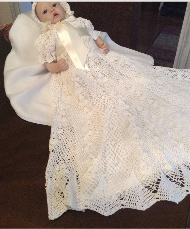 1b74a45eb763 Heirloom thread crochet gown baby pattern crochet christening | Etsy