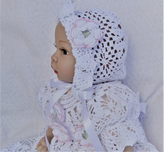 Crochet Heirloom Baby Christening Bonnet Pdf Pattern Bonnet Etsy