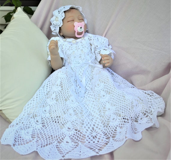 Dress Heirloom Crochet Thread Christening Baby Pattern Thread Etsy
