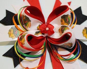 Blackhawks Large stacked Hair bow