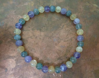 Stretch Bracelet to Stimulate Metabolism Weight Loss Warm & Soft gemstone colors Amethyst Citrine Apatite latex and metal free