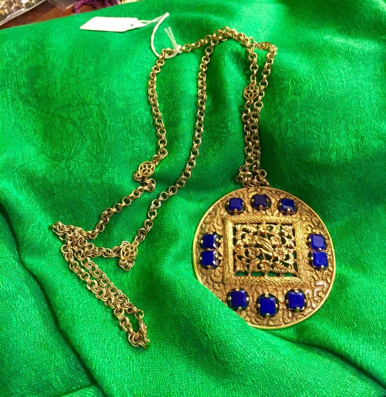 Vintage Signed Lucien Piccard Blue Stone Medallion Necklace
