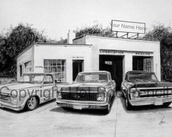 Classic Car Drawing Etsy