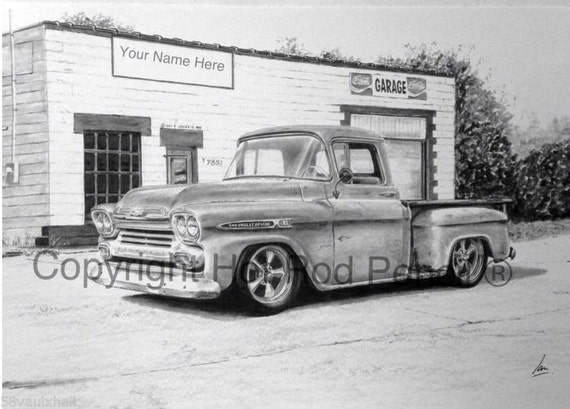 1959 Chevrolet Apache Pickup Truck Customized Pencil Drawing Etsy