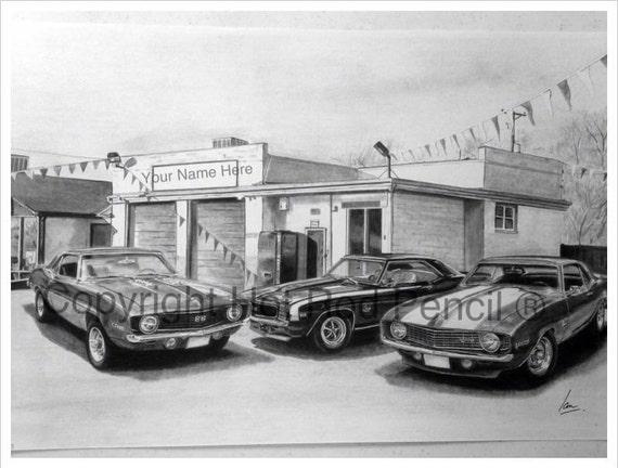 1969 Chevy Camaro Customized Pencil Drawing Print Etsy