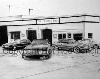 Fox Body Mustang 5.0 Customized Pencil Drawing Print