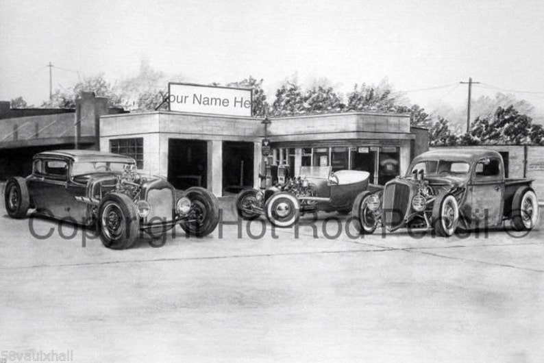 Vintage Ford T Bucket Hot Rods Customized Pencil Drawing Print