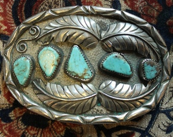 Vintage Silver and Turquoise Belt Buckle 1970's