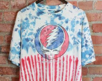 ee2e9f48 Vintage Grateful Dead Concert T Shirt 1988 Steal your Face Owsley Tie-Dye  Unisex Extra Large Jerry Garcia Hippie 80's American Flag