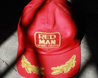 a2c9410445f Vintage Red Man Chewing Tobacco Adjustable Trucker Hat