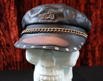01762adbb664d Vintage Leather Harley Davidson Captains Hat Size Small Medium Biker  Motorcycle Chain Studded Cap