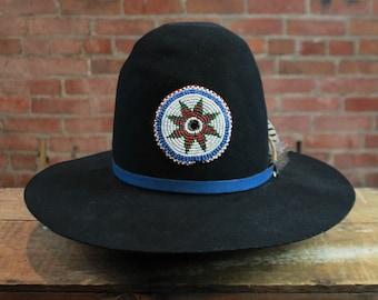 e870f6c0324 Vintage Black Shag Custom Shop Sheplers Fur Blend Hat Large Native American  Leather Feather