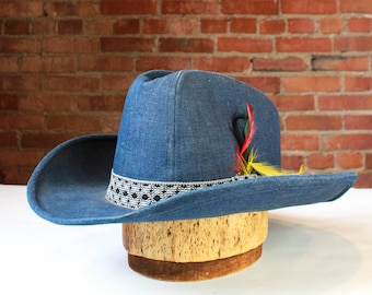 831318c10b0 Vintage Denim Cowboy Hat With Embroidered Band And Feathers Unisex Size 7 1 2  Country Western Unisex Accessories