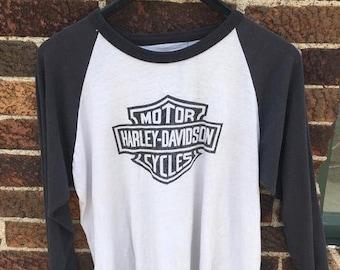 16f3613de9145c Vintage 80 s Harley Davidson T Shirt 3 4 Jersey Raglan Sleeve Motorcycle  Biker Buddy Stubbs Dealer Phoenix Arizona