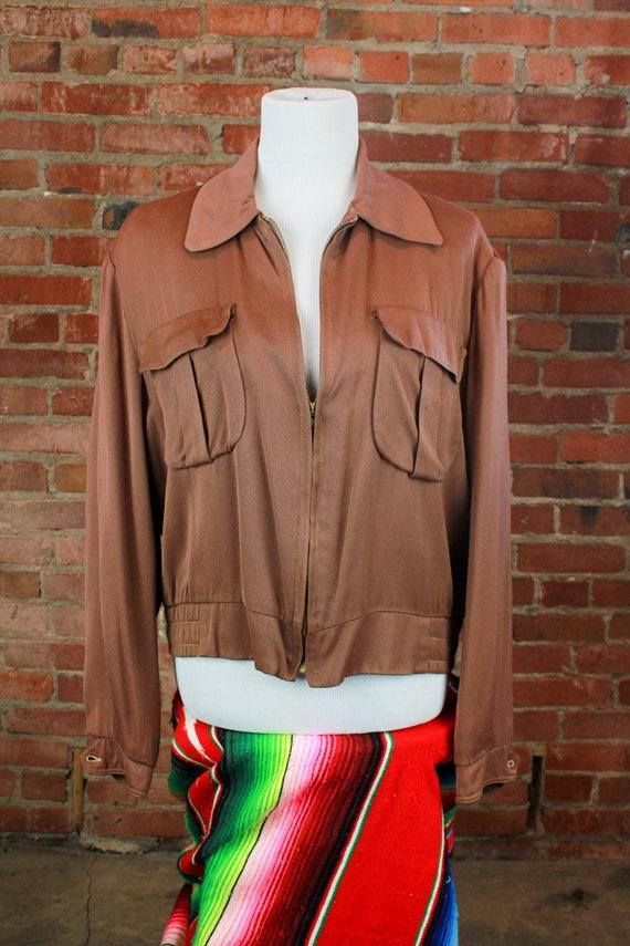 Vintage 40's Gaberdine Bomber Jacket Brown Unisex