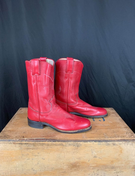 Women's Vintage Justin Red Leather Cowboy Boots -