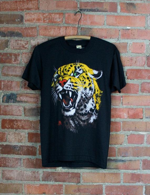 Vintage 80's Leopard Graphic T Shirt Dead-Stock Bl