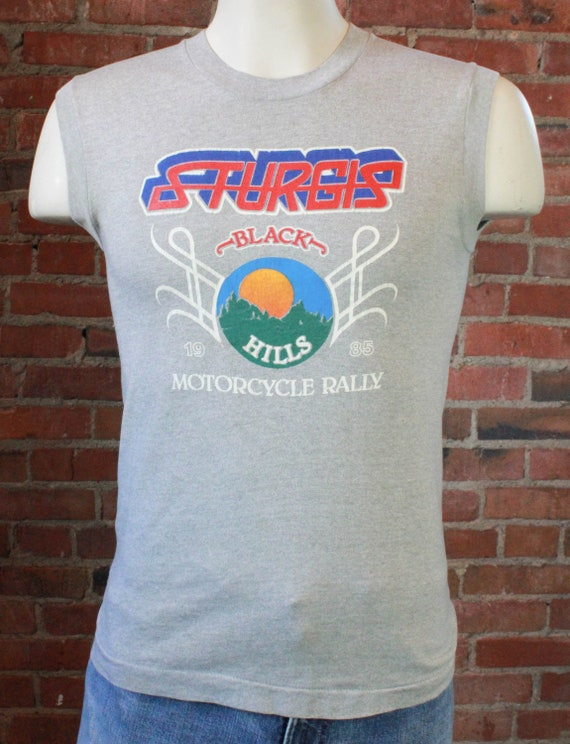 00c995545b5a54 Vintage Sturgis Motorcycle Rally T Shirt 1985 Grey Muscle Tee